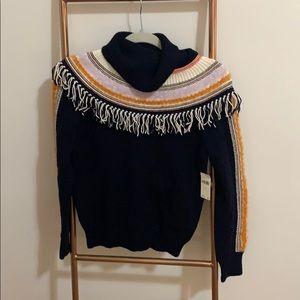 Anthropologie Fringe Turtleneck Sweater